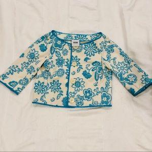 Moschino Turquoise & Ivory Cropped Jacket